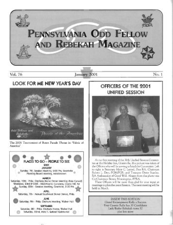 Jan - Grand Lodge of Pennsylvania, Independent Order of Odd ...