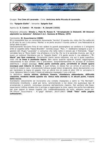 Gruppo: Tre Cime di Lavaredo - Cima: Anticima della ... - Il Monodito