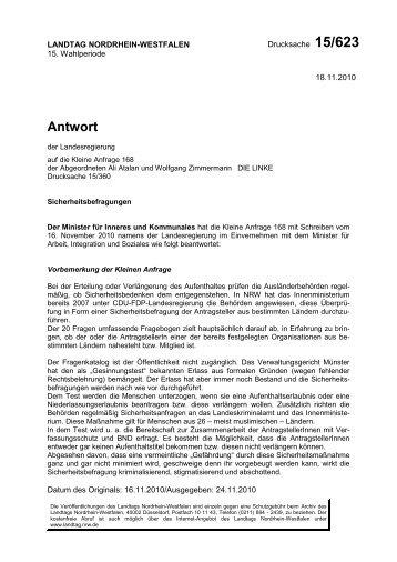 Kleine Anfrage_Antwort - Die Linke NRW