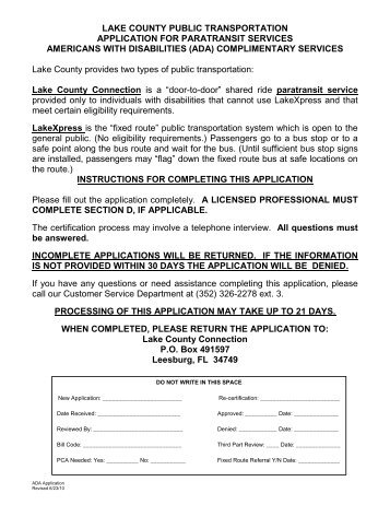 Application for Paratransit Services ADA ... - Lake County