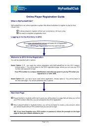 Player Self Registration Overview - MyFootballClub