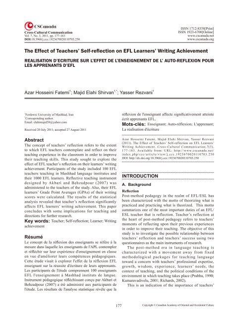 The Effect of Teachers' Self-reflection on EFL Learners