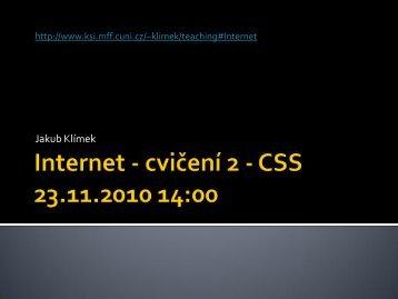 Internet – cvičení 2 - CSS 23.11.2010 - KSI