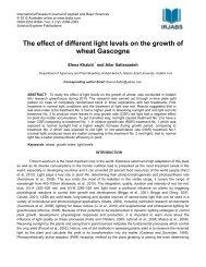 The effect of different light levels on the growth of wheat Gascogne