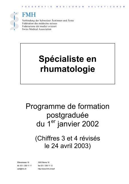 Spécialiste FMH en rhumatologie - Société suisse de rhumatologie