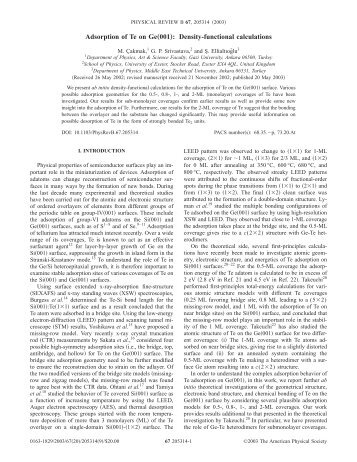 """Adsorption of Te on Ge""""001…: Density-functional calculations"""