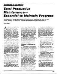 Total Productive Maintenance- Essential to Maintain Progress