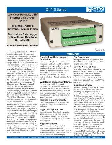 DI-710 Data Logger Data Sheet - DATAQ Instruments