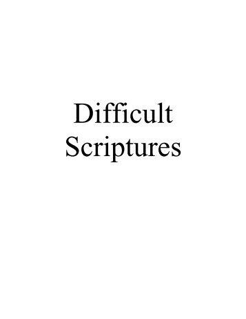 Difficult Scriptures - Church of God - NEO