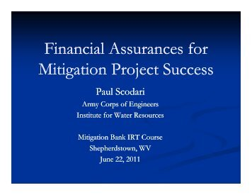 Financial Assurances for Mitigation Project Success
