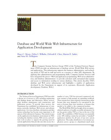 Database and World Wide Web Infrastructure for Application ...