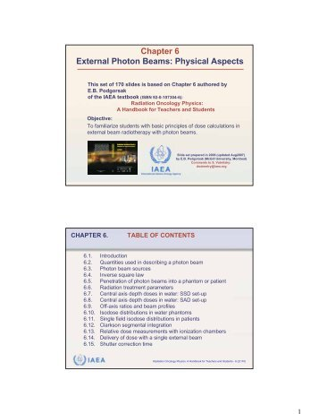 Chapter 6 External Photon Beams: Physical Aspects - IRSN