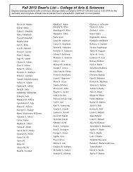 Fall 2012 Dean's List – College of Arts & Sciences