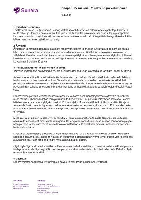 Kaapeli-TV-maksu-TV-palvelut palvelukuvaus - Sonera