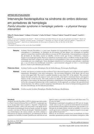 Intervenção fisioterapêutica na síndrome do ombro doloroso em ...