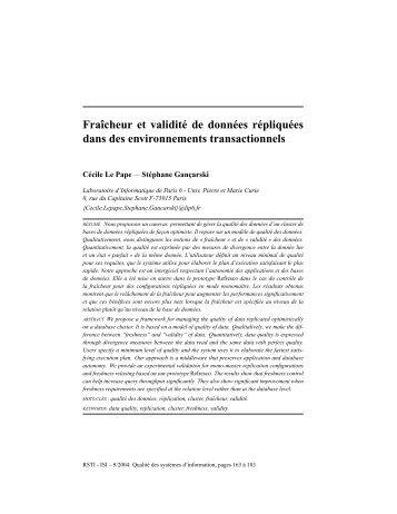Fraîcheur et validité de données répliquées dans ... - ResearchGate