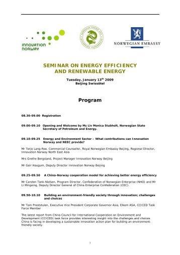 Program for the seminar - NEEC