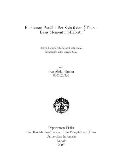 Hamburan Partikel Ber-Spin 0 dan Dalam Basis Momentum-Helicity