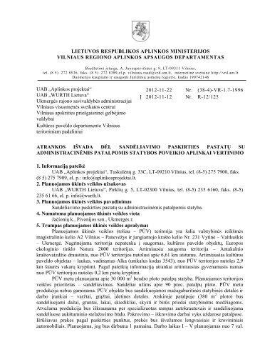 2012-11-22 Atrankos išvada dėl sandėliavimo paskirties pastatų su ...