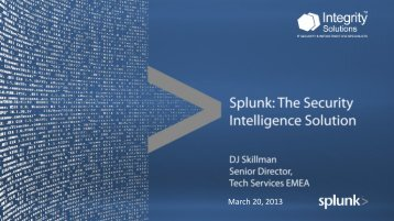 Splunk for Security Intelligence - Integrity Solutions