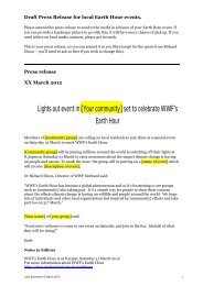 Draft Press Release for local Earth Hour events - WWF UK