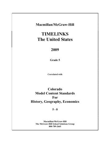 Macmillan/McGraw-Hill TIMELINKS The United States 2009 Grade 5