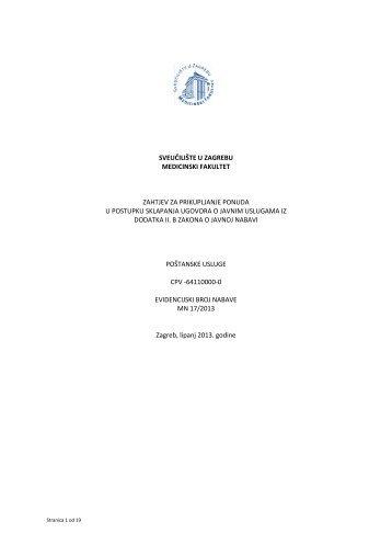 Zahtjev za prikupljanje ponuda za nabavu poštanskih usluga