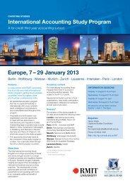 International Accounting Study Program Europe, 7 – 29 January 2013