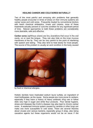 healing canker and cold sores naturally - Mydoctor.ca