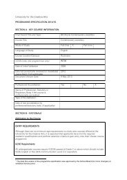 programme specification - holding page - University for the Creative ...