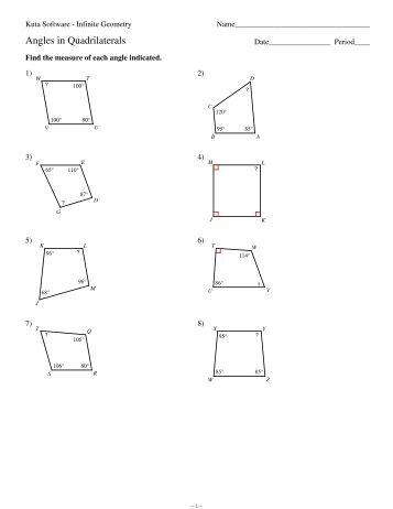 6 Angles In Quadrilaterals Kuta Software