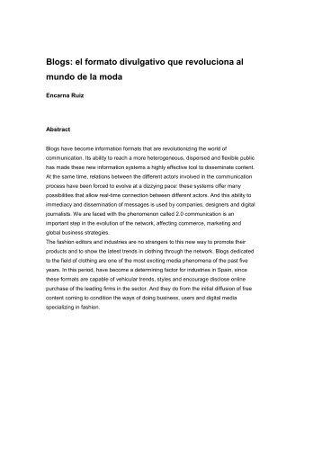 Blogs: el formato divulgativo que revoluciona al mundo de la ... - ESDi