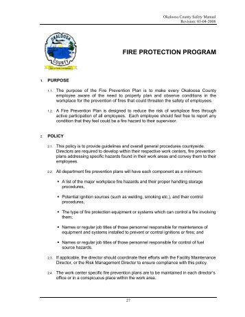 FIRE PROTECTION PROGRAM - Okaloosa County