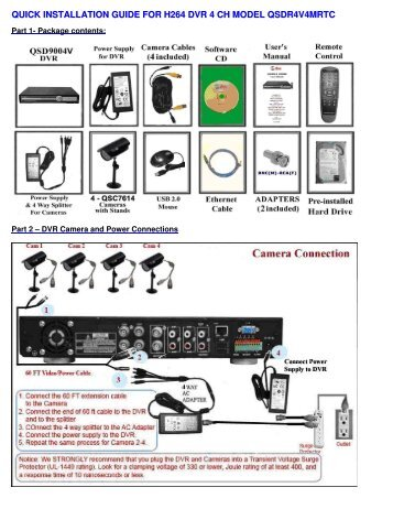 quick installation guide for h264 dvr 4 ch model qsdr4v4mrtc - Q-See