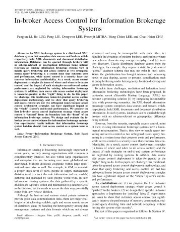 In-broker Access Control for Information Brokerage Systems - Paper ...