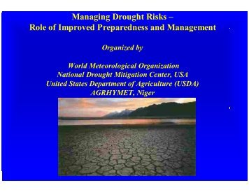 Role of Improved Preparedness and Management - WHYCOS