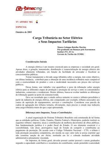 carga tributria no setor eltrico brasileiro e seus impactos tarifrios