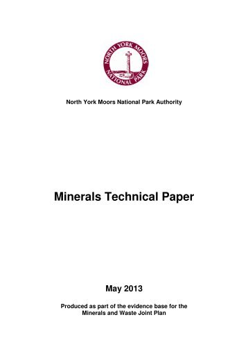 Minerals Technical Paper - North York Moors National Park
