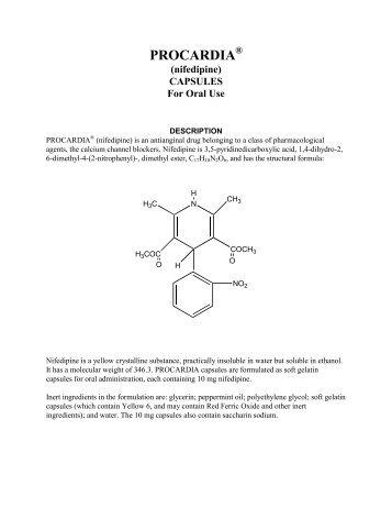 Nifedipine Package Insert - American Geriatrics Society