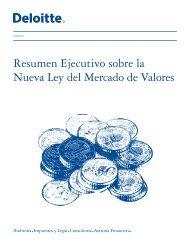 Resumen Ejecutivo sobre la Nueva Ley del Mercado de Valores
