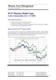 Lettre 3ème trimestre 2009 - Moneta Asset Management