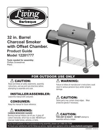 32 in. Barrel Charcoal Smoker with Offset Chamber. - Char-Broil Grills
