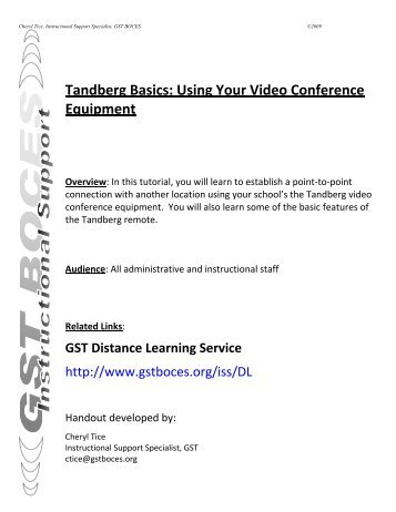 Tandberg Basics: Using Your Video Conference ... - gst boces