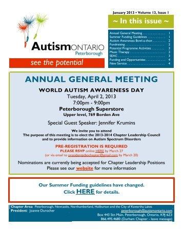 January 2013 Newsletter - Autism Ontario