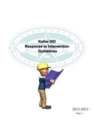Keller ISD Response to Intervention Guidelines 2012-2013