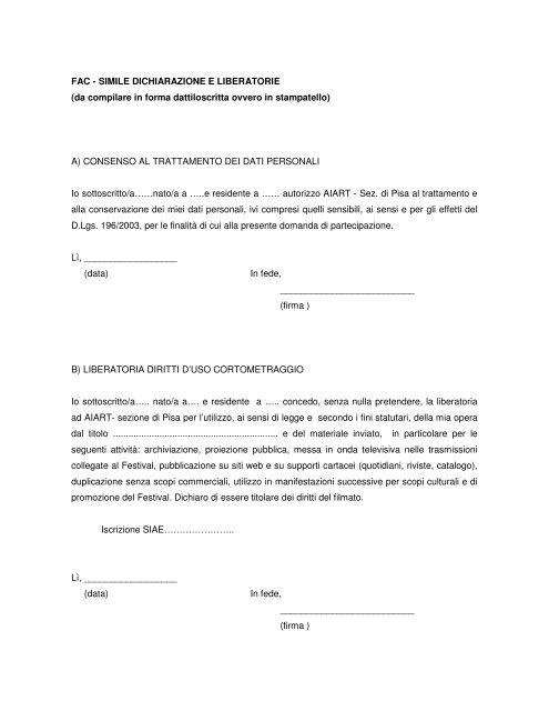 FAC - SIMILE DICHIARAZIONE E LIBERATORIE (da ... - Cesvot
