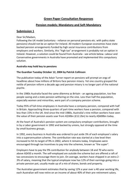 Green Paper Consultation Responses Pension models
