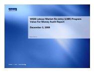 WSIB Labour Market Re-entry (LMR) Program Value For Money ...