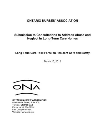 Submission to Consultations to Address Abuse and Neglect in Long ...