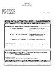confirmation des données publiées fin janvier 2008 - Saint-Gobain